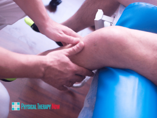 the hands of a physical therapist near orlando florida helping a patient with a leg injury
